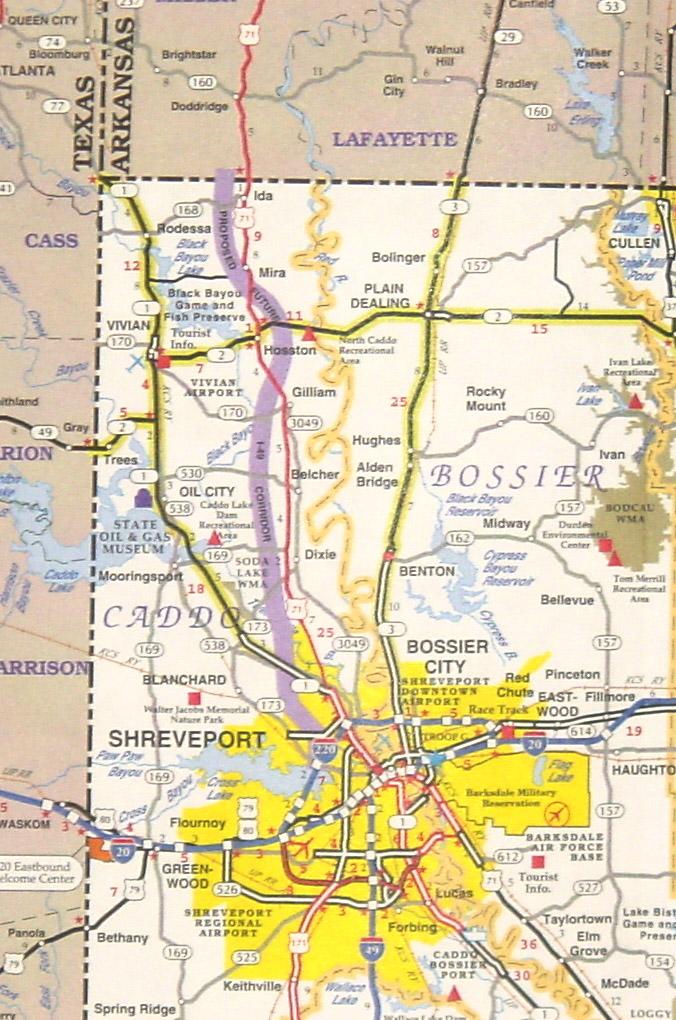 Interstate Map Of Louisiana.I49 Texarkana Region