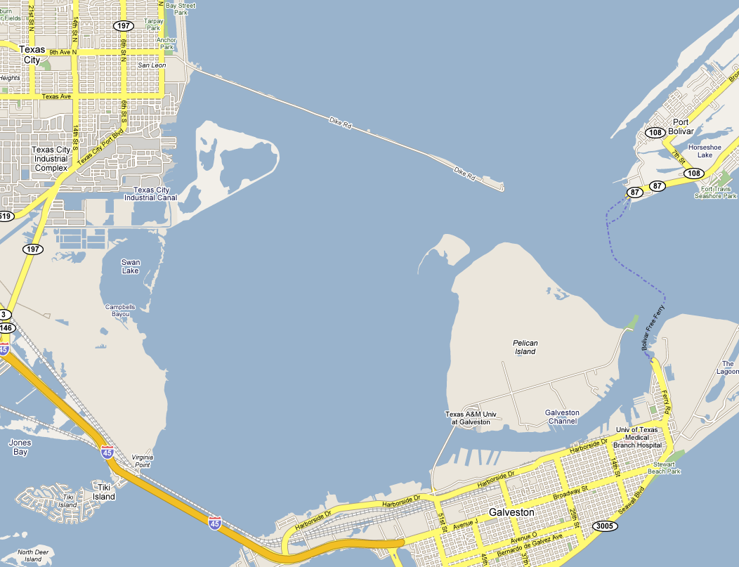 Map Of Texas City.Texas City Dike